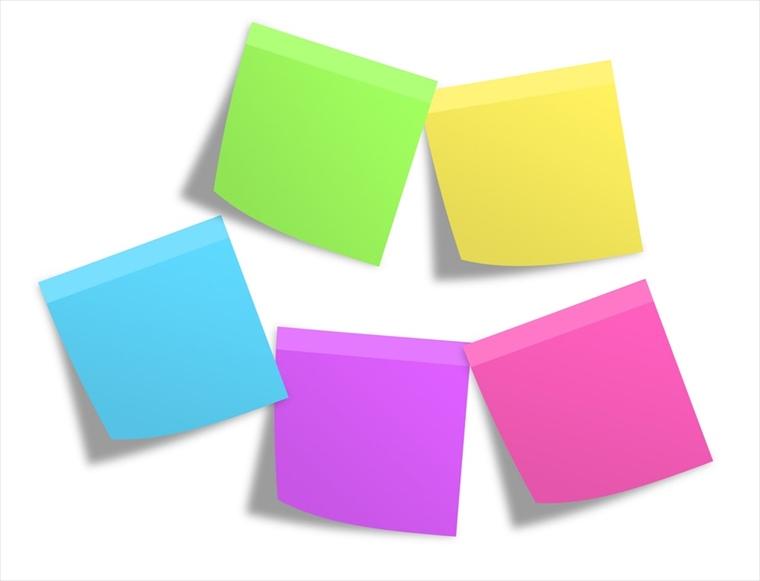 5色のポストイットメモ